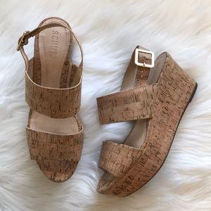 Schutz Platform Wedge Cork Sandals